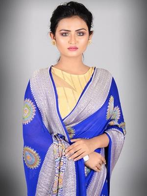Royal Blue Multicolor Pure Chiffon Banarasi Silk Saree