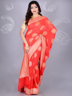 Red Multicolor Pure Chiffon Banarasi Silk Saree
