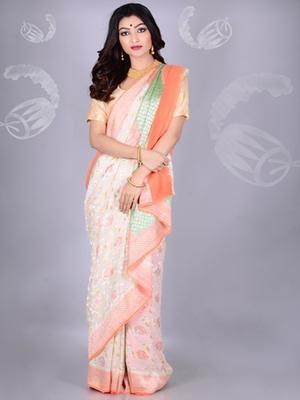 White Multicolor Pure Chiffon Banarasi Silk Saree