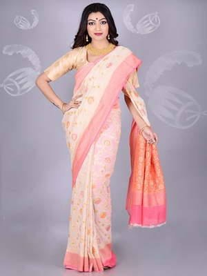 White Multicolor Pure Chiffon Banarasi Silk Saree