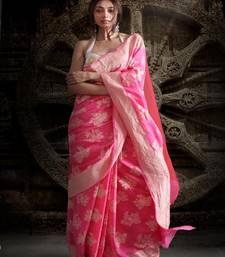 Pink Pure Chiffon Banarasi Silk Saree