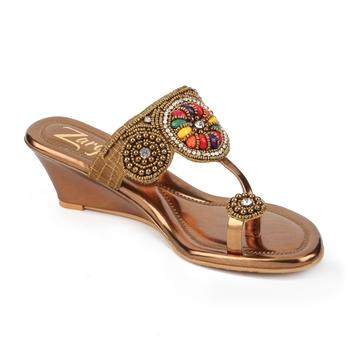 multicolor synthetic Handmade Designer Embroided Wedges for Women