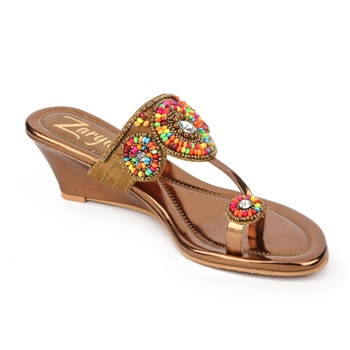 copper synthetic Handmade Designer Embroided Wedges for Women