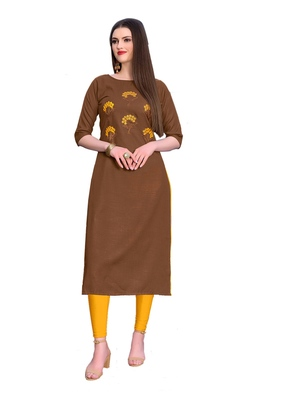 Coffee embroidered silk ethnic-kurtis