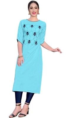 Sky-blue embroidered silk ethnic-kurtis