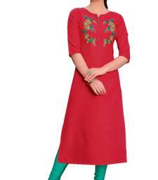 Red embroidered silk ethnic-kurtis