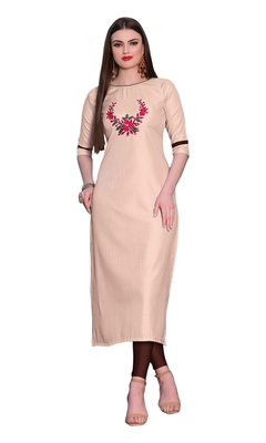 Cream embroidered silk ethnic-kurtis