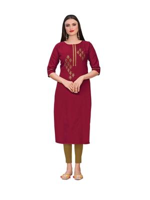 Maroon embroidered silk ethnic-kurtis