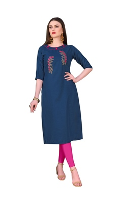 Blue embroidered silk ethnic-kurtis