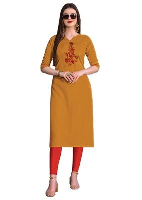 Mustard embroidered silk ethnic-kurtis