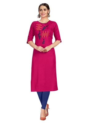 Rani-pink embroidered silk ethnic-kurtis
