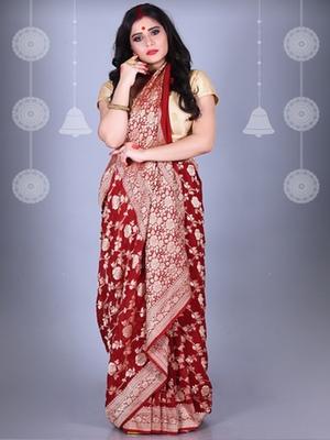 Maroon Pure Chiffon Banarasi Silk Saree