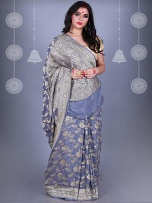 GREY Pure Chiffon Banarasi Silk Saree