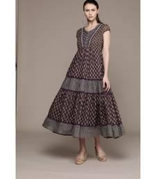 Label Ritu Kumar Blue Half Sleeves Indigo Long Dress
