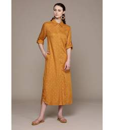 Label Ritu Kumar Yellow Full Sleeves Long Dress With Camisole