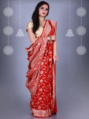 RED Pure Chiffon Banarasi Silk Saree