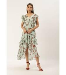 Label Ritu Kumar Blue Cap Sleeves Floral Asymmetric Ruffle Long Dress