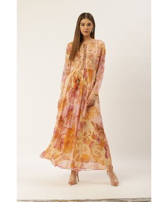 Label Ritu Kumar Pink Full Sleeves Floral Long Dress