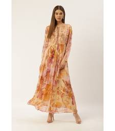 Label Ritu Kumar Pink Full Sleeves Floral Long Dress
