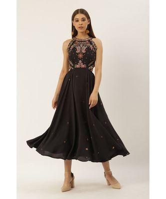 Label Ritu Kumar Grey Halter Neck Embroidered Cut-Out Long Dress