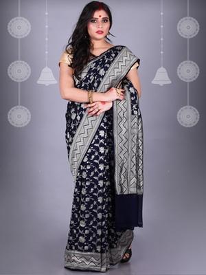 Navy Blue Pure Chiffon Banarasi Silk Saree