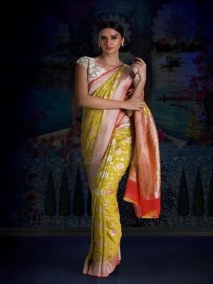 Yellow Multicolor Pure Chiffon Banarasi Silk Saree
