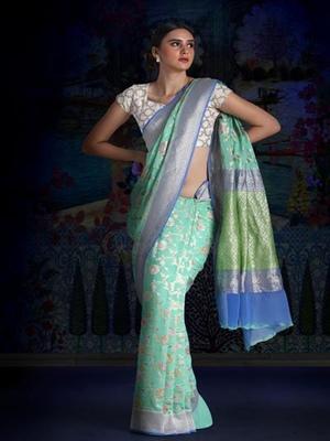 Sky Blue Pure Chiffon Banarasi Silk Saree
