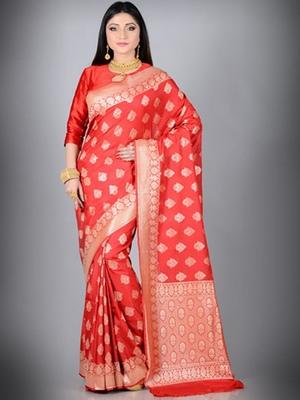 Red Faux Chiffon Banarasi Silk Saree
