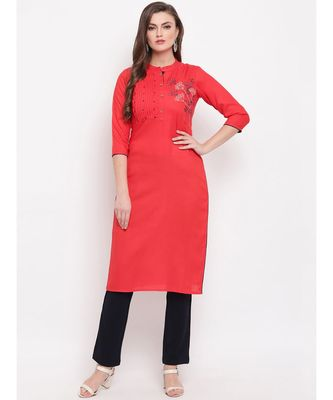 Women'S Resham Embroidery Straight Rayon Red Kurti