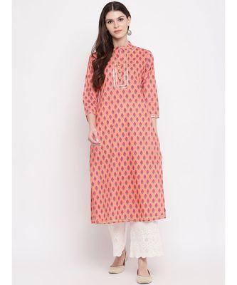 Women's Printed, Lace Work Straight Cotton Light Orange Kurti
