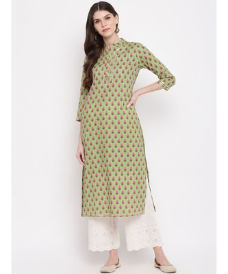 Women's Printed, Lace Work Straight Cotton Parrot Green Kurti