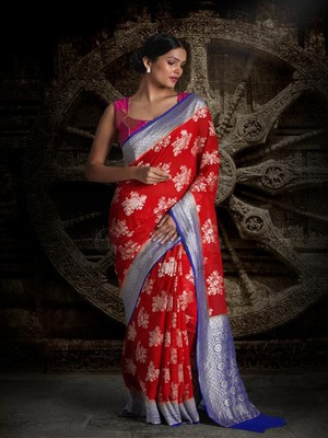 Red Royal Blue Pure Chiffon Banarasi Silk Saree