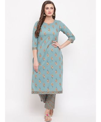 Women'S Foil Print Straight Cotton Turquoise Kurti With Palazzo