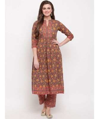 Women'S Floral Print & Hand Work Flared With Side Cut Cotton Grey Kurti With Palazzo
