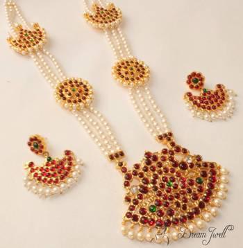 Beautiful Gold Plated Kemp Peacock Pearl Haar Set