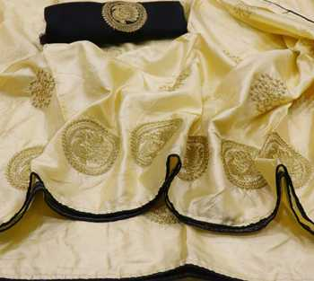 White embroidered silk blend saree with blouse