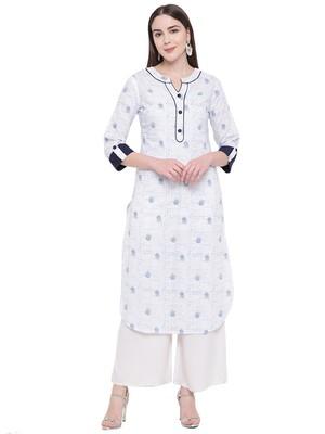 Women's Stylish Floral Print White Cotton Kurta