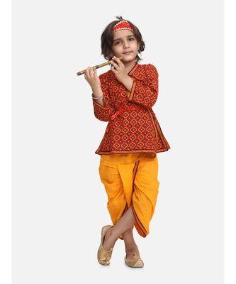 Yellow Printed cotton Angrakha Kurta Set With Mukut & Flute