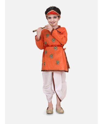 Orange Embroidered cotton Angrakha Kurta Set With Mukut & Flute