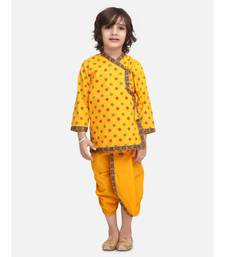 Yellow Printed cotton Angrakha Kurta Set