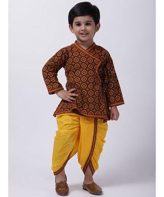 Black Printed cotton Angrakha Kurta Set