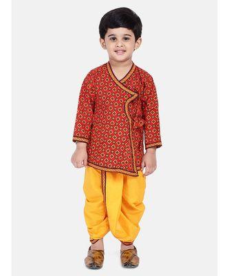Red Printed cotton Angrakha Kurta Set