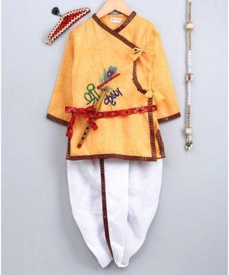 Yellow Embroidered cotton Angrakha Kurta Set With Mukut & Flute