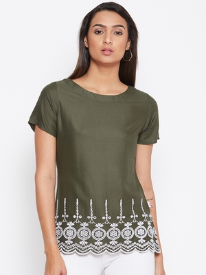 Green embroidered rayon party-tops