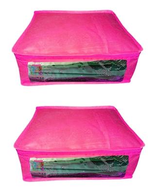 Atorakushon®Non woven Fabric Saree Cover Blouse Cover Garments Storage Bag Wardrobe Organiser Pack of 2 (Pink)