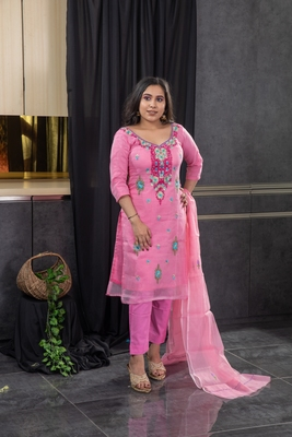 Pink thread embroidery kota doria salwar