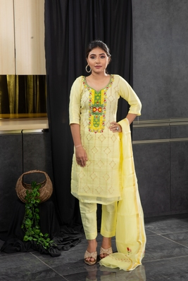 Yellow thread embroidery kota doria salwar