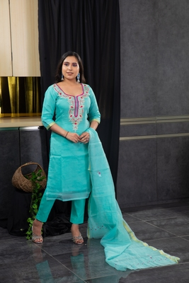 Sea-green thread embroidery kota doria salwar