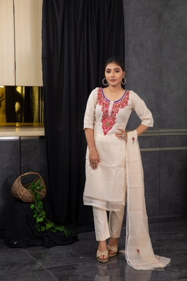 Off-white thread embroidery kota doria salwar