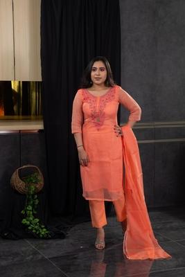 Orange thread embroidery kota doria salwar